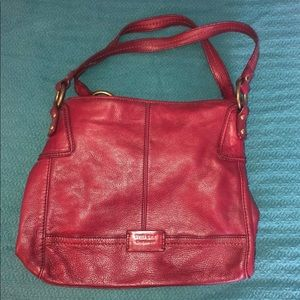Red leather purse from The Sak